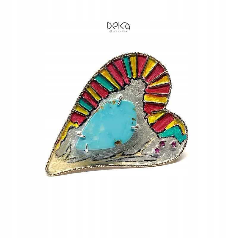 Unikatowa broszka z turkusem i rubinami