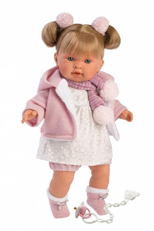 Lalka płacząca Alexandra blondynka szalik w paski