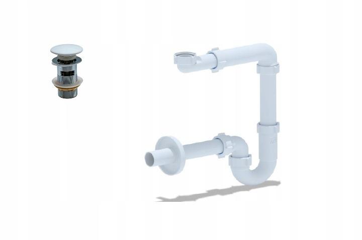 Syfon umywalki korek klik-klak biały z przelewem