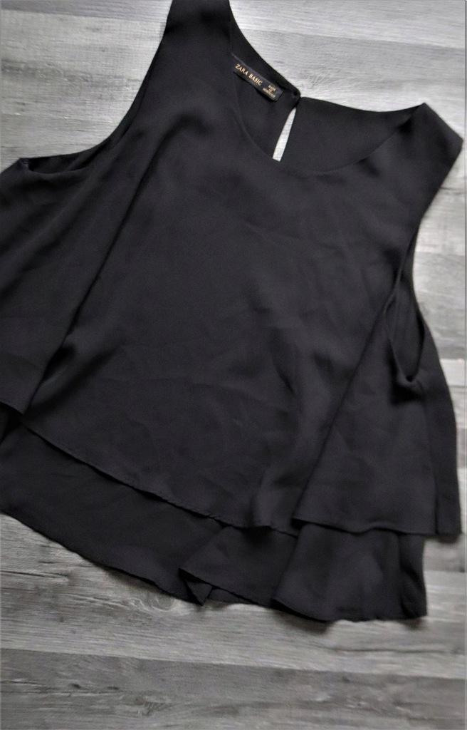 Czarna bluzka ZARA warstwowa S falbana
