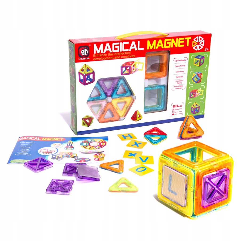Kolorowe klocki magnetyczne MAGICAL MAGNET 20SZT