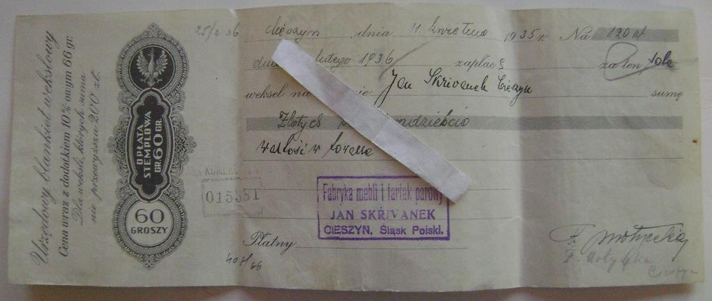 Jan Skrivanek Cieszyn 1935 weksel