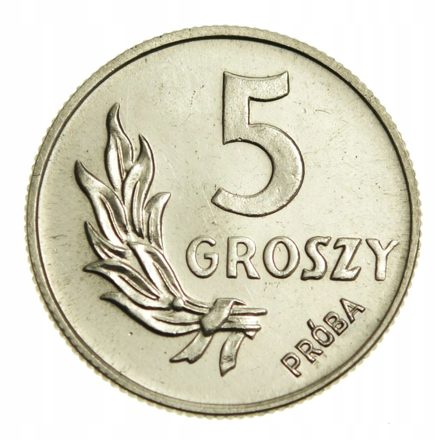 POLSKA 5 GROSZY 1949 NIKIEL PRÓBA