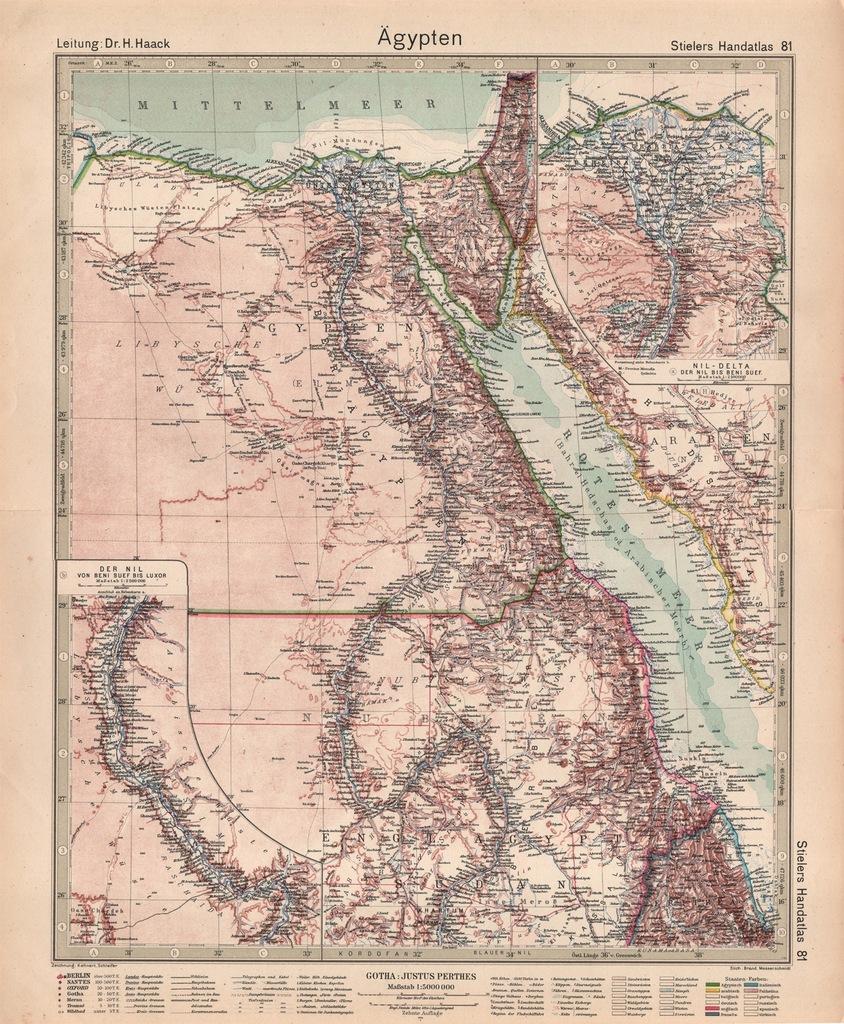 EGIPT. NIL. PIĘKNA MAPA MIEDZIORYT 1924r. ORYGINAŁ