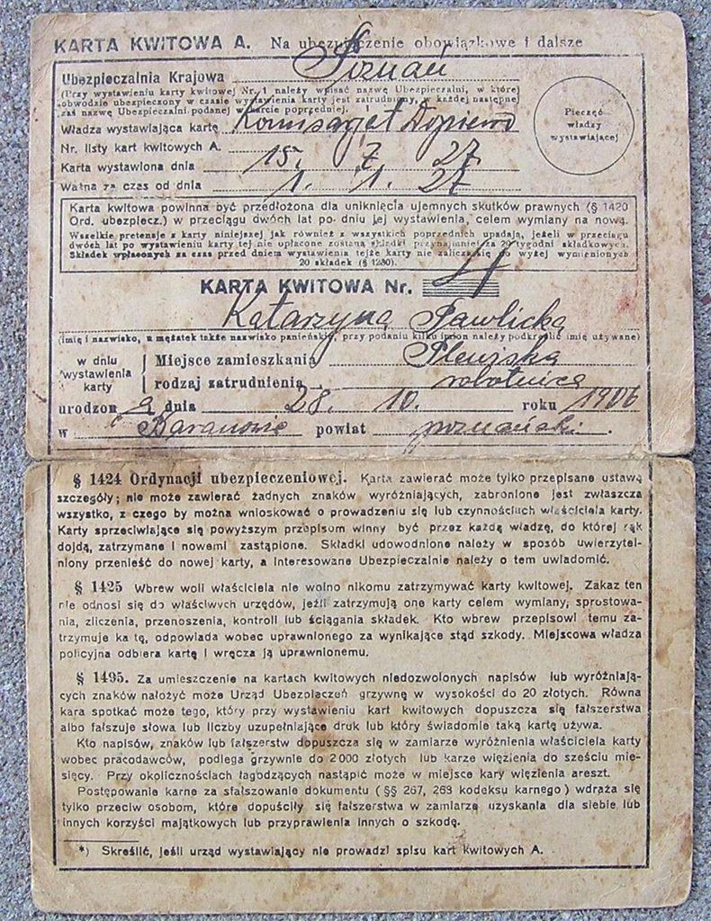 KARTA KWITOWA UBEZPIECZALNI KRAJOWEJ rok 1927