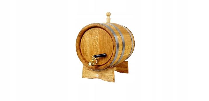 Beczka dębowa 5 L na bimber whisky Kranik mosiężny