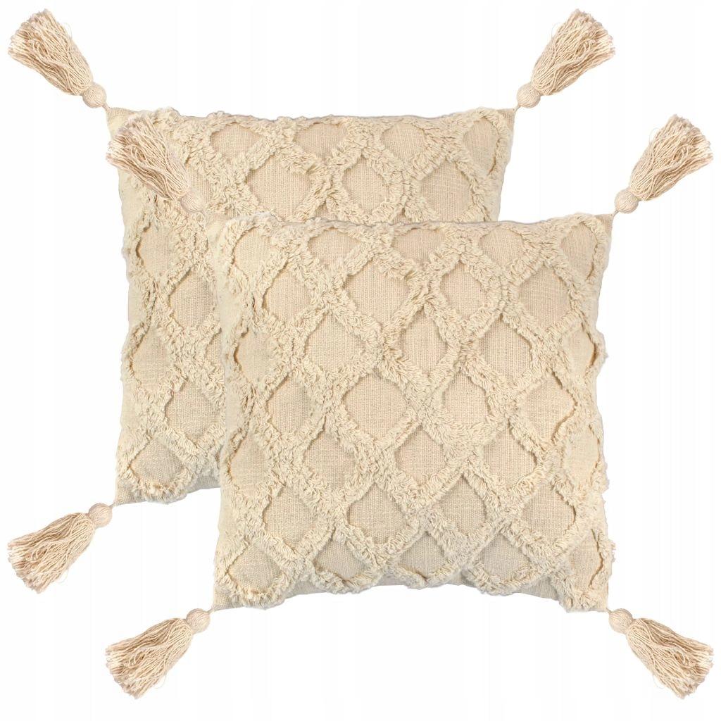 2 poduszki, 45x45 cm, wzór w kratę, kolor naturaln