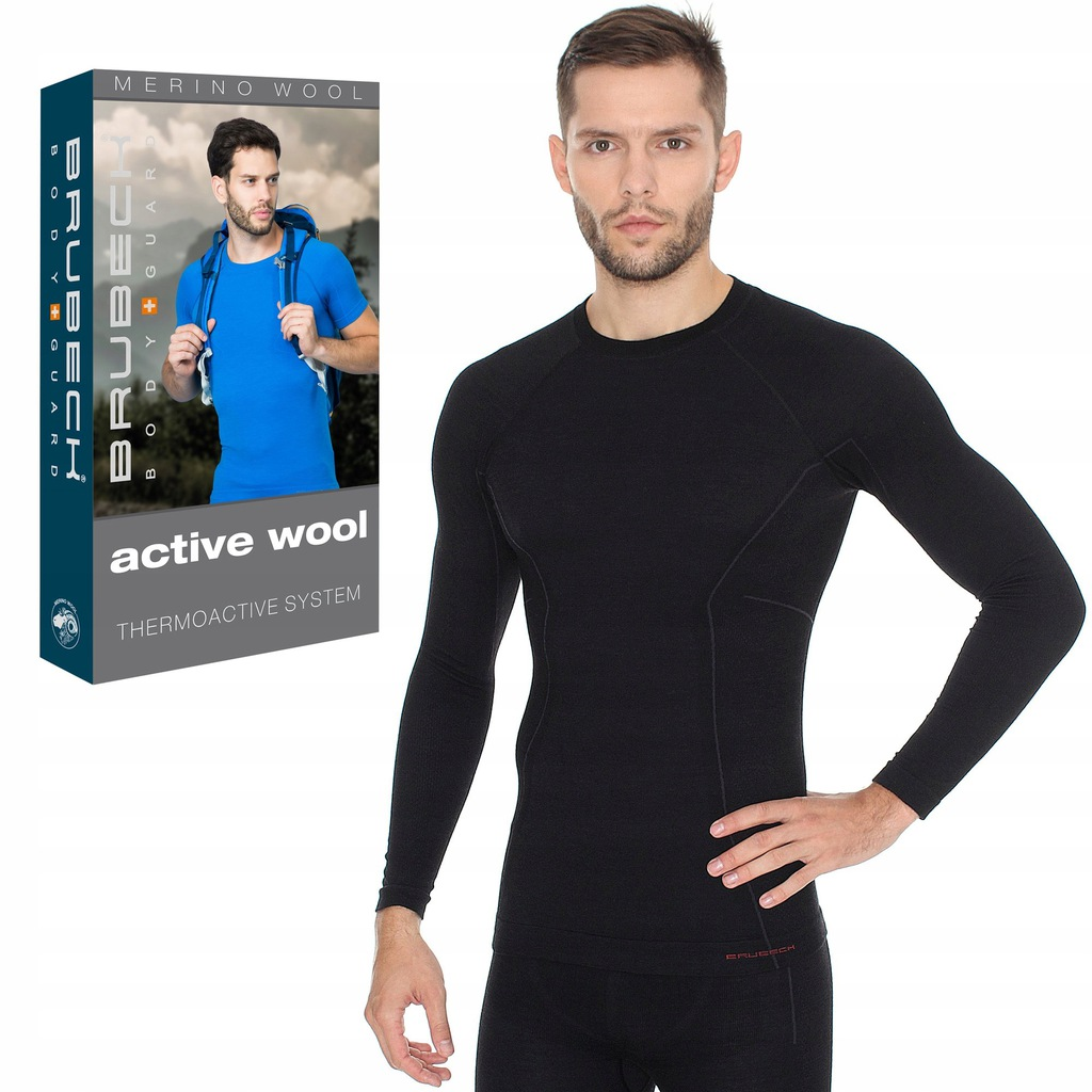 XXL-BEZSZWOWA koszulka BRUBECK Active Wool Men Bla
