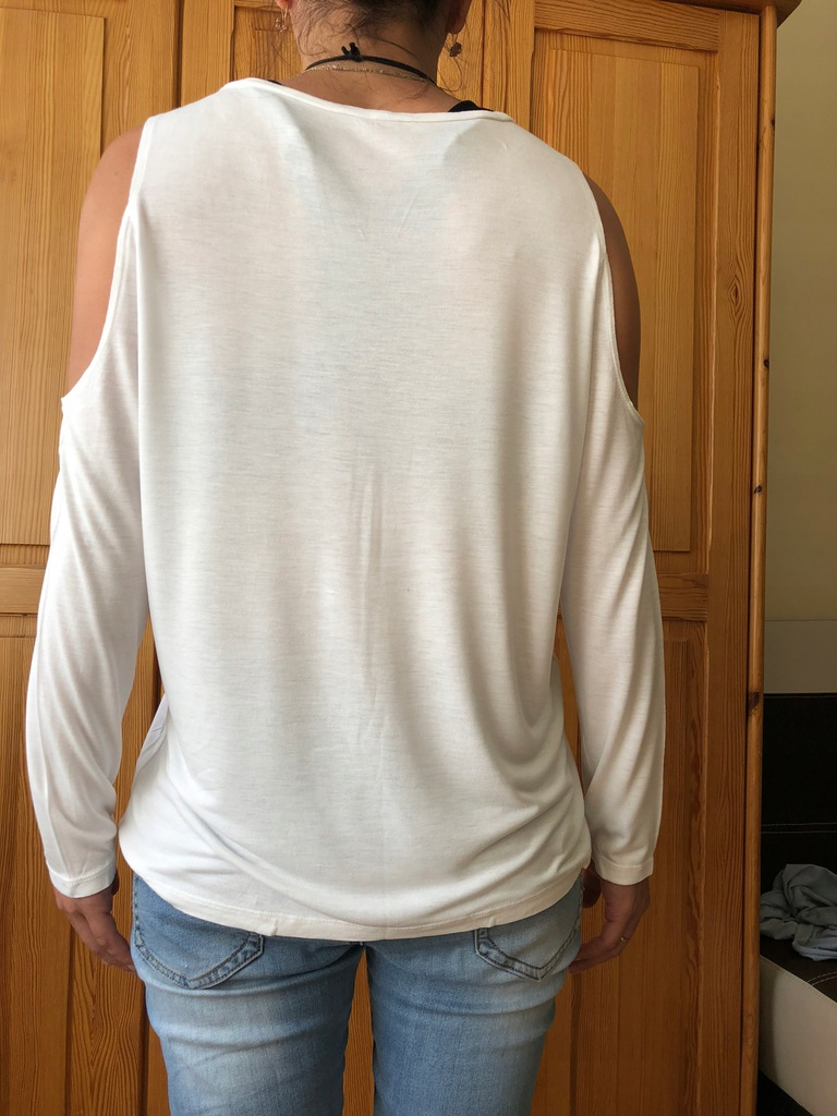 Zara bluzka L biała z wycięciami na ramionach