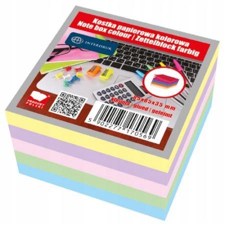 Bloczek kartek kolorowych 85x85x35 klejony, Interd