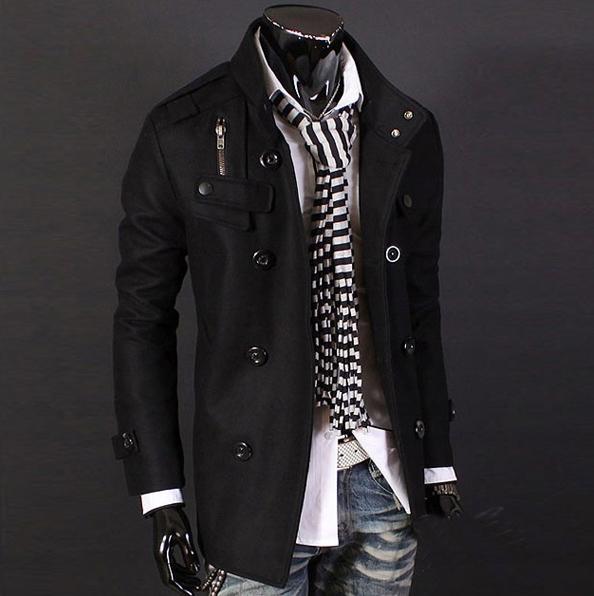 Elegancki męski płaszcz jesienno zimowy casual XS