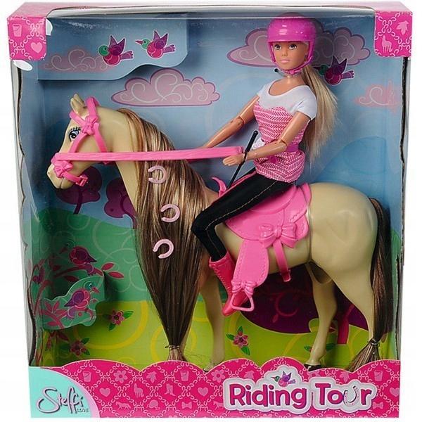STEFFI Lalka w stroju dżokejki na koniu