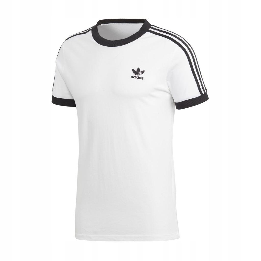 Adidas Koszulka Męska Bawełniana Trzy Paski Biała