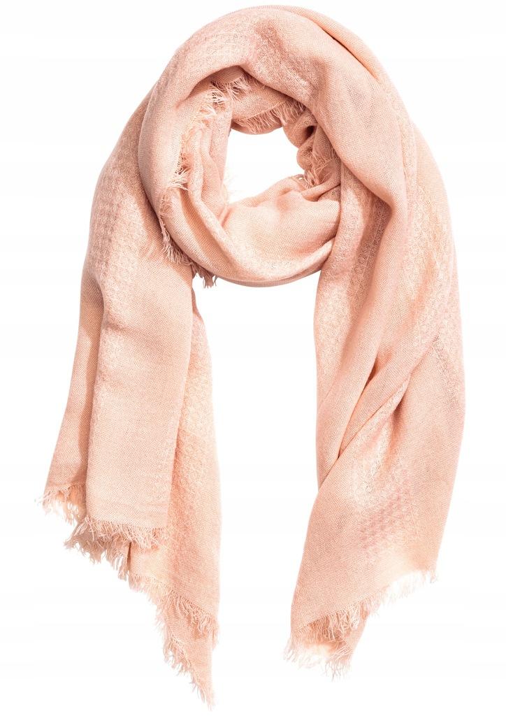 H&M Szalik z frędzlami pudrowy róż 90x200