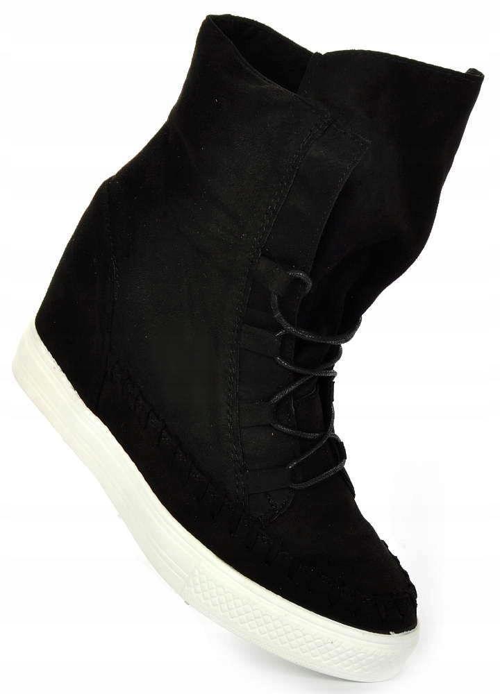 Czarne trampki sneakersy na koturnie buty 1373 39
