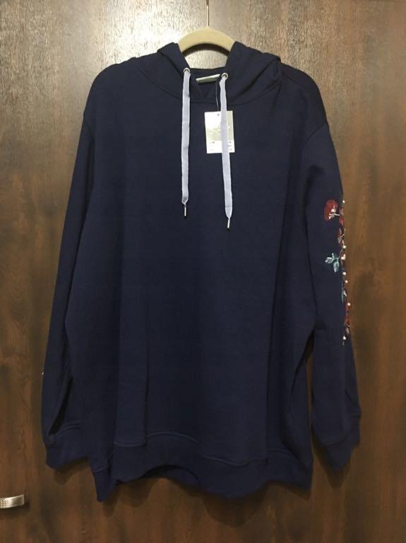 Nowa Bluza granat haft perełki 58 60 zdobiona