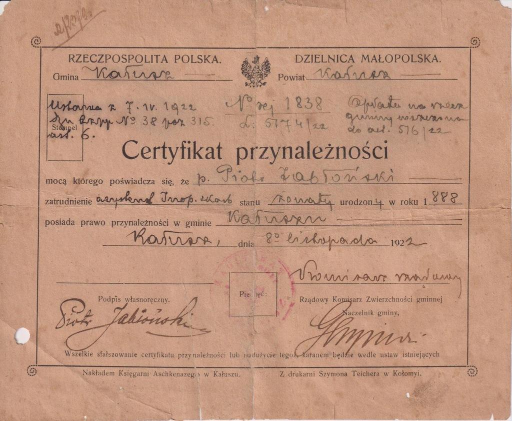 CERTYFIKAT PRZYNALEŻNOŚCI KAŁUSZ KRESY 1922