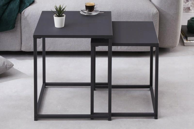 INVICTA zestaw stolików DURA czarne - metal