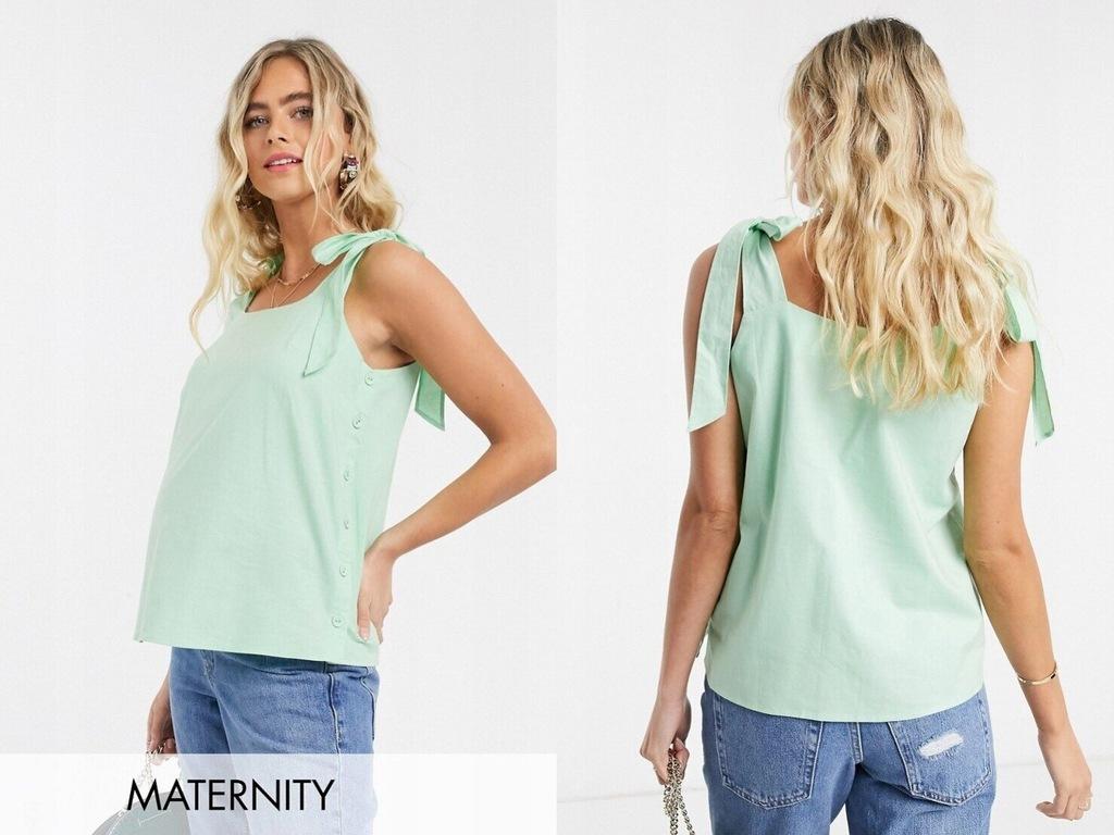 Fashion Union Maternity Top z wiązaniami zielony M