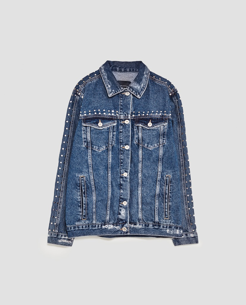 zara kurtka jeansowa z ćwiekami oversize *M* (673)