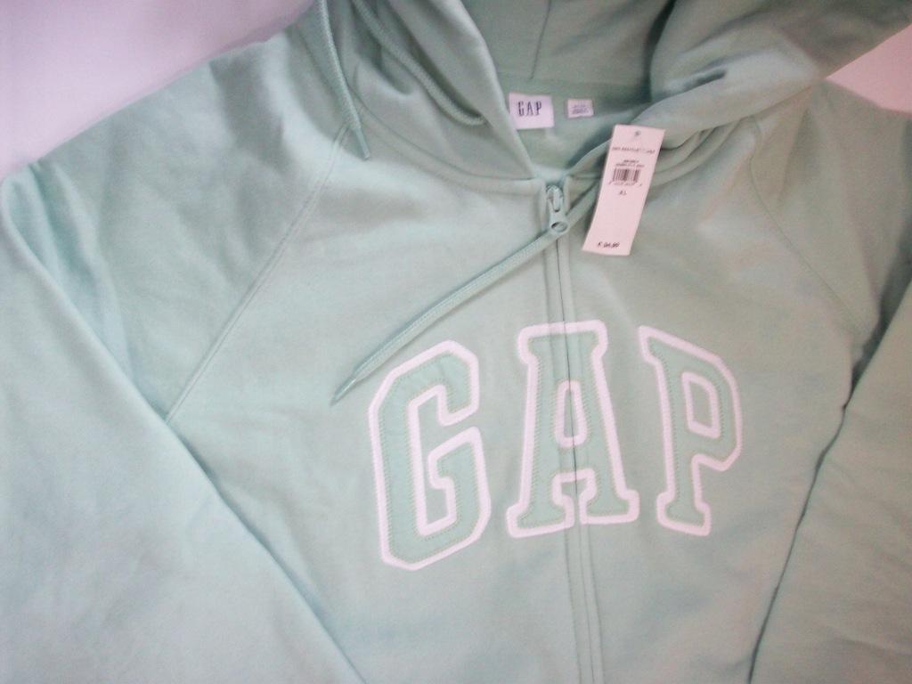 bluza gap damska rozpinana szara z zielonym napisem