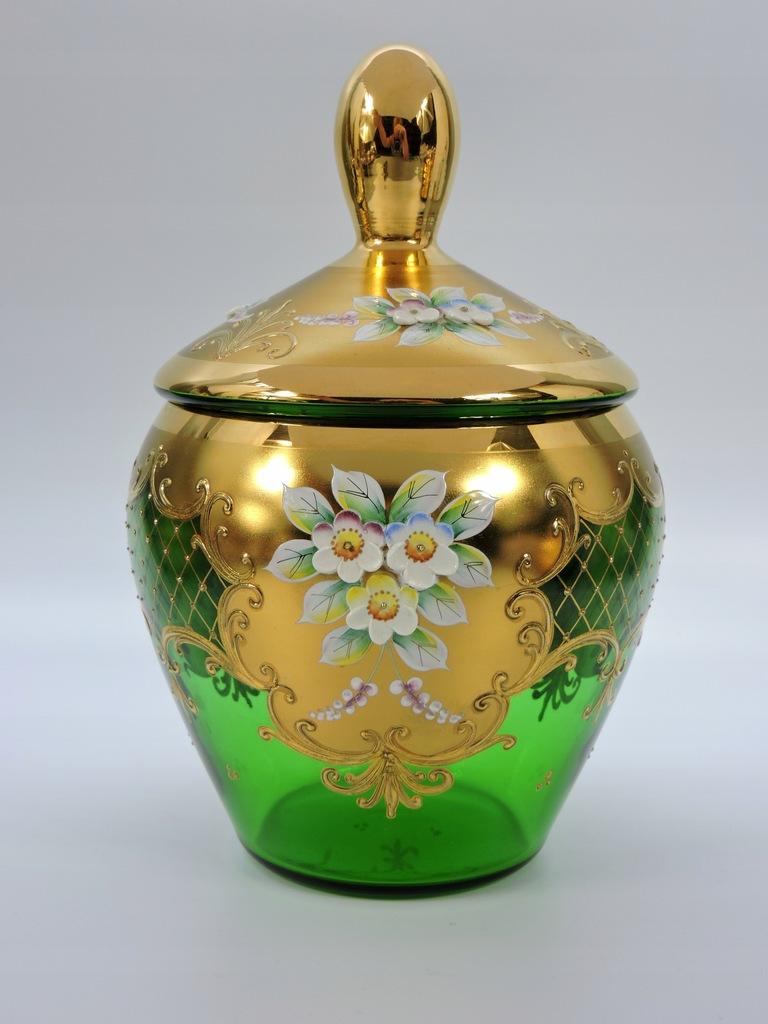 Bomboniera zielony kryształ złoto Bohemia
