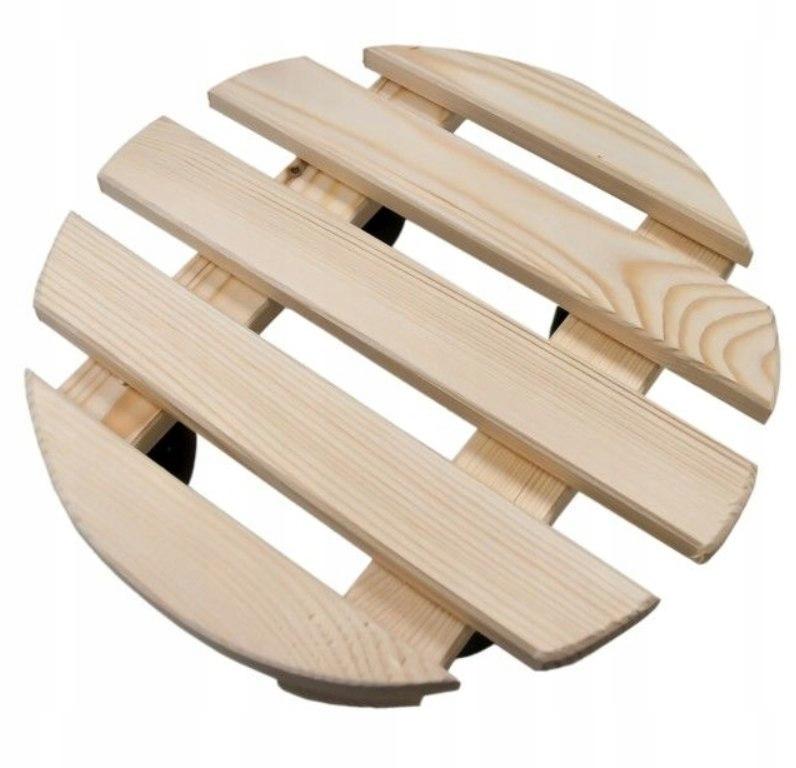 Podstawka donicę 35cm kółkach okrągła mała drewno