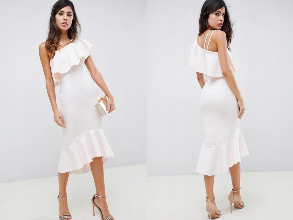 Design pudrowa sukienka na jedno ramię falbana M