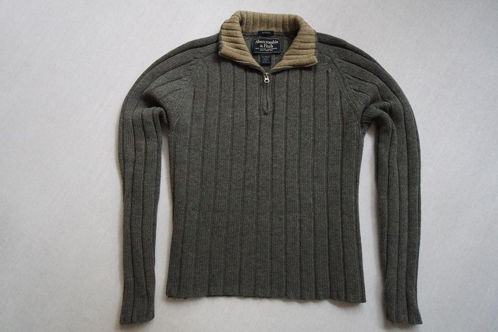 ABERCROMBIE FITCH sweter sweterek szary WEŁNA____L