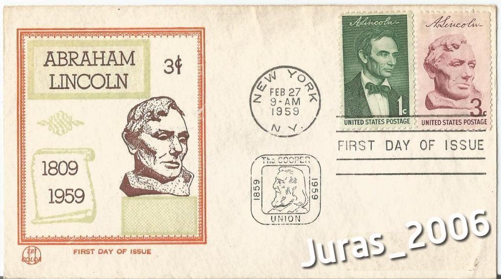 Abraham Lincoln USA 1959 New York ISSUE koperta
