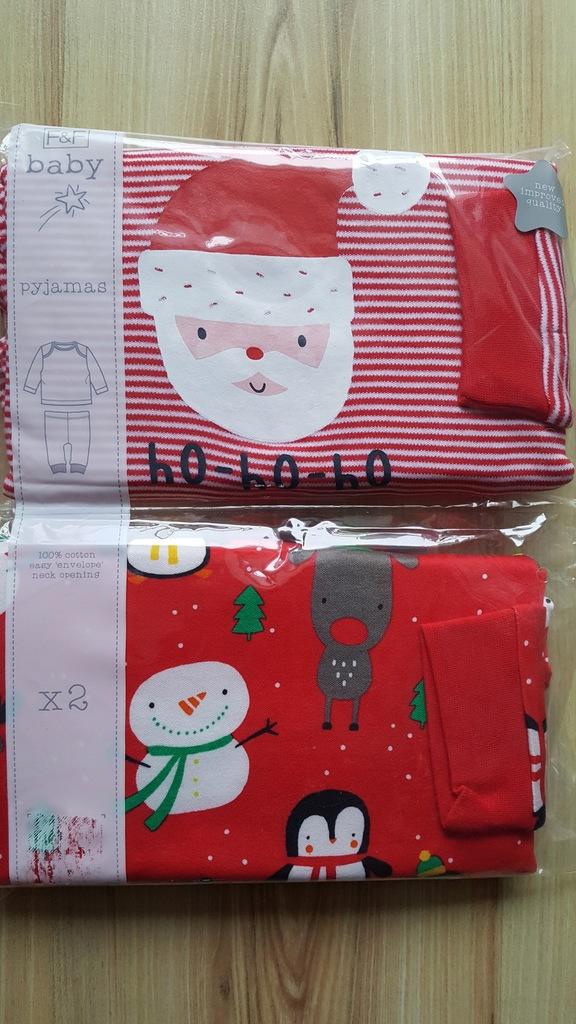 Piżama piżamka świąteczna 2-pak r98 F&F Święta