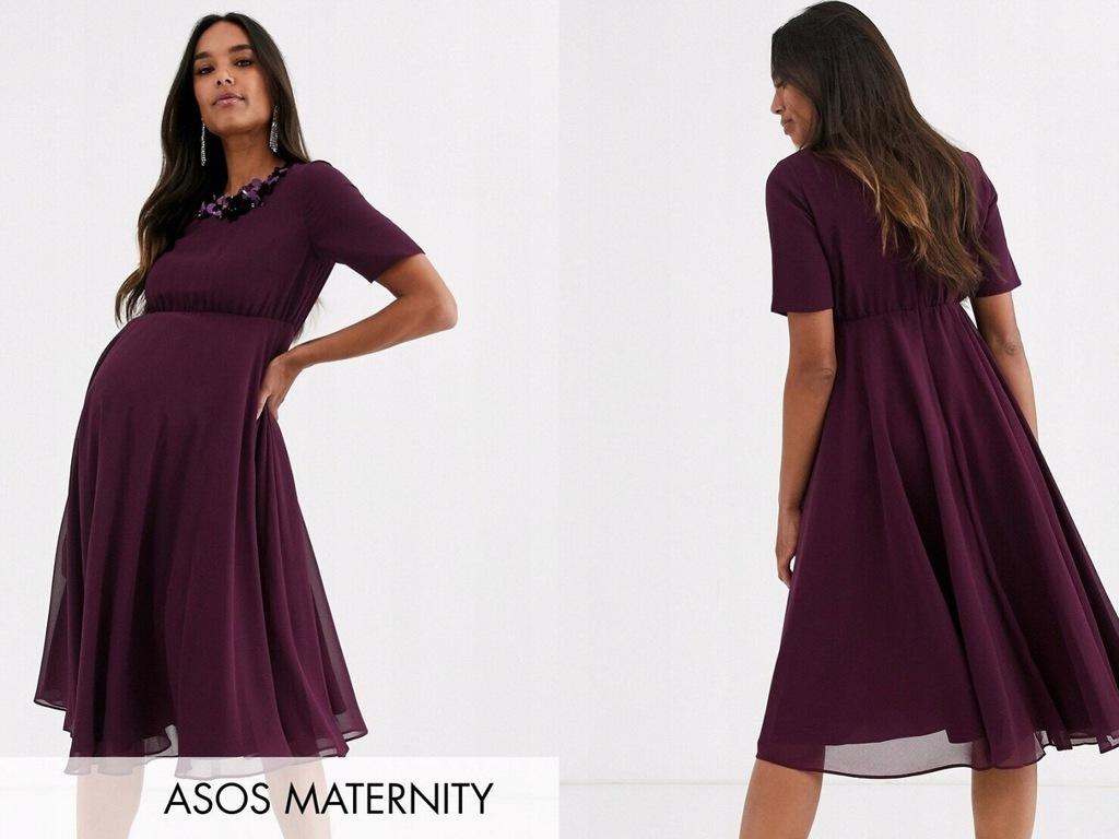 DESIGN Maternity Sukienka midi fioletowa 46