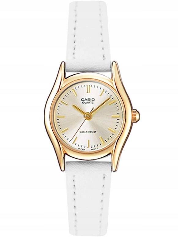 Zegarek młodzieżowy - damski Casio biały złoty
