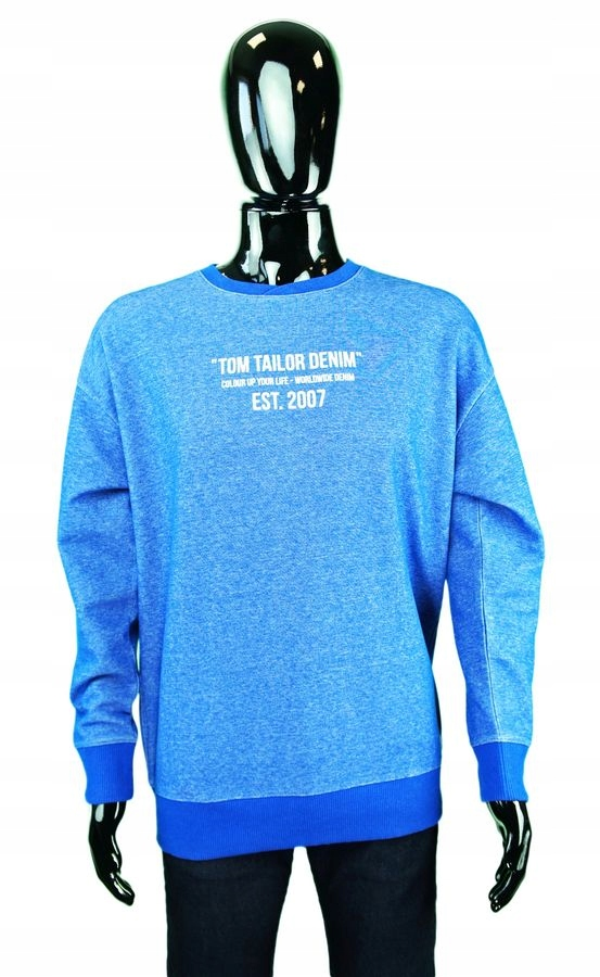 TOM TAILOR Kobaltowa bluza melanżowa napisy (M)