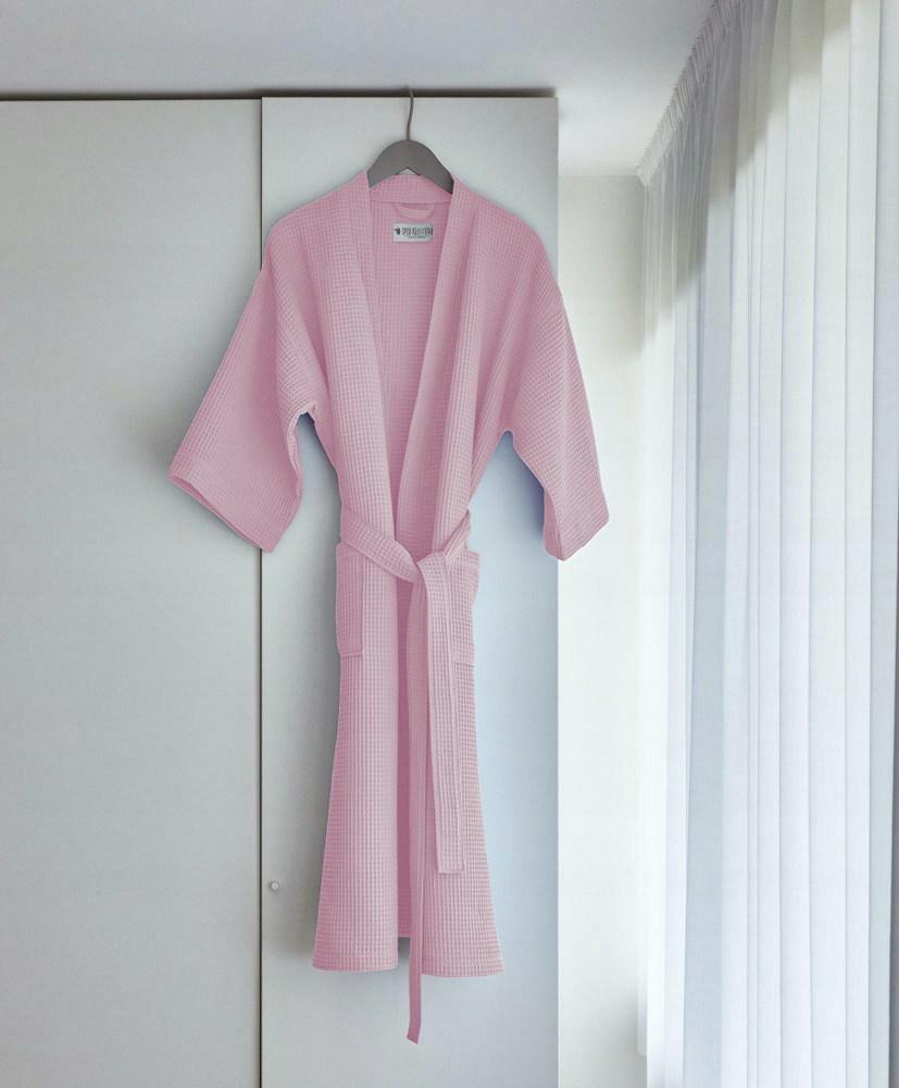 Szlafrok gofrowany pudrowy S/M bawełniany Kimono