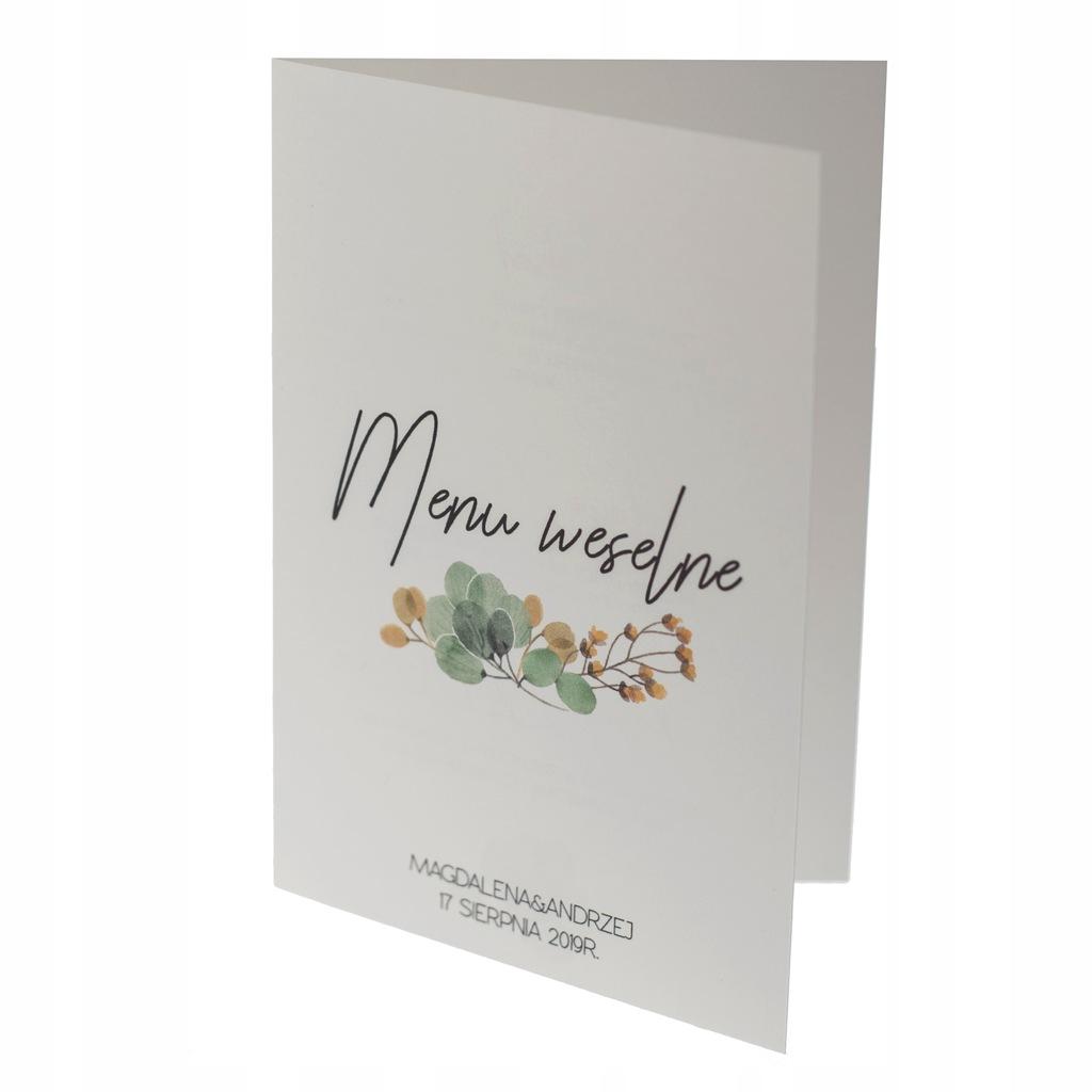 Menu weselne ślubne karta dań botaniczne otwierane