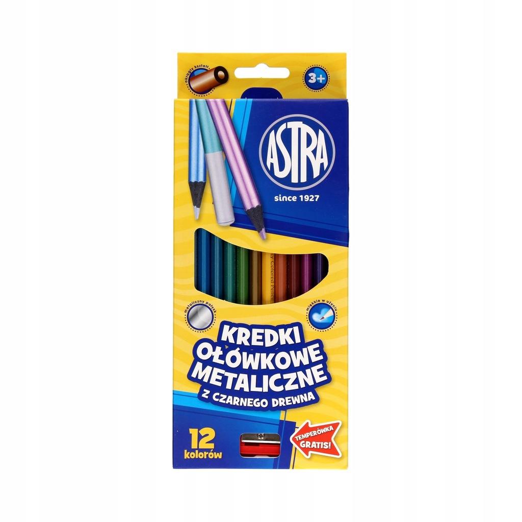 Kredki ołówkowe 12kol metaliczne Astra 312114002