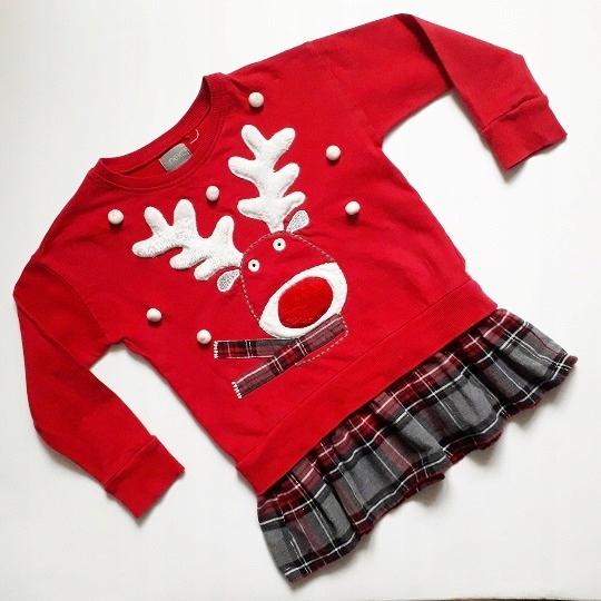 NEXT*świąteczna dresowa tunika RENIFER TUTU 98-104