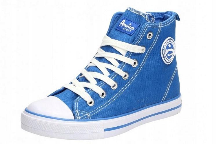 Obuwie TRAMPKI Wysokie sznur BLUE American r 39