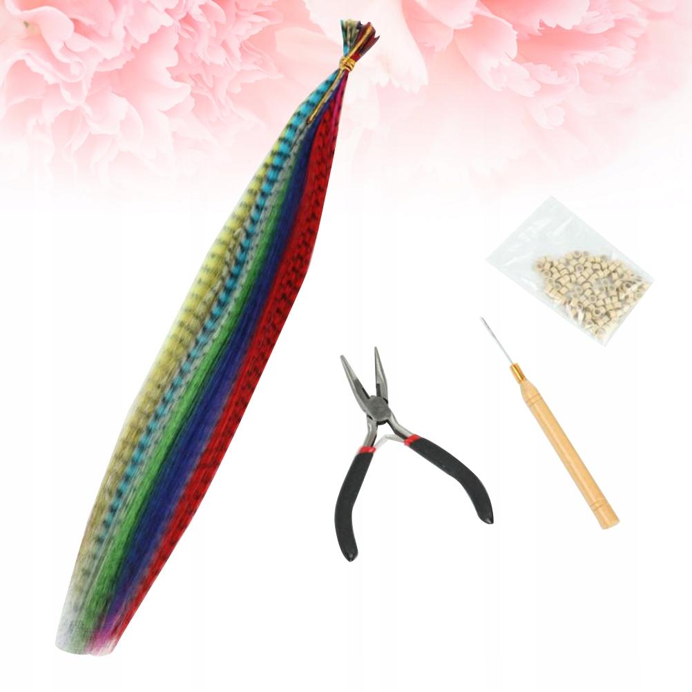 1 zestaw przedłużania włosów z kolorowych piór Pro