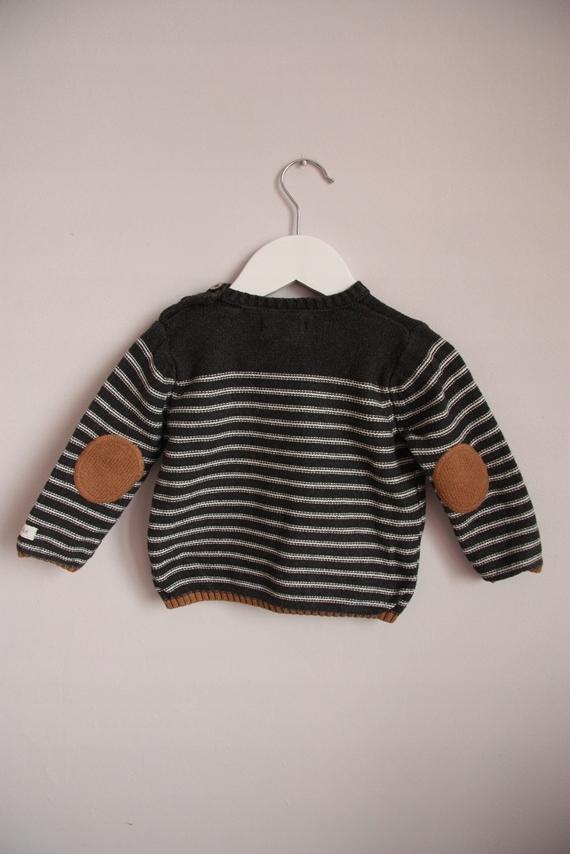 Newbie kappahl grafitowy sweter paski łaty 74