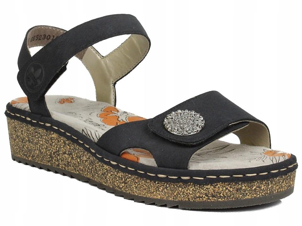 Obuwie Rieker V03J6 14 wygodne sandały na koturnie