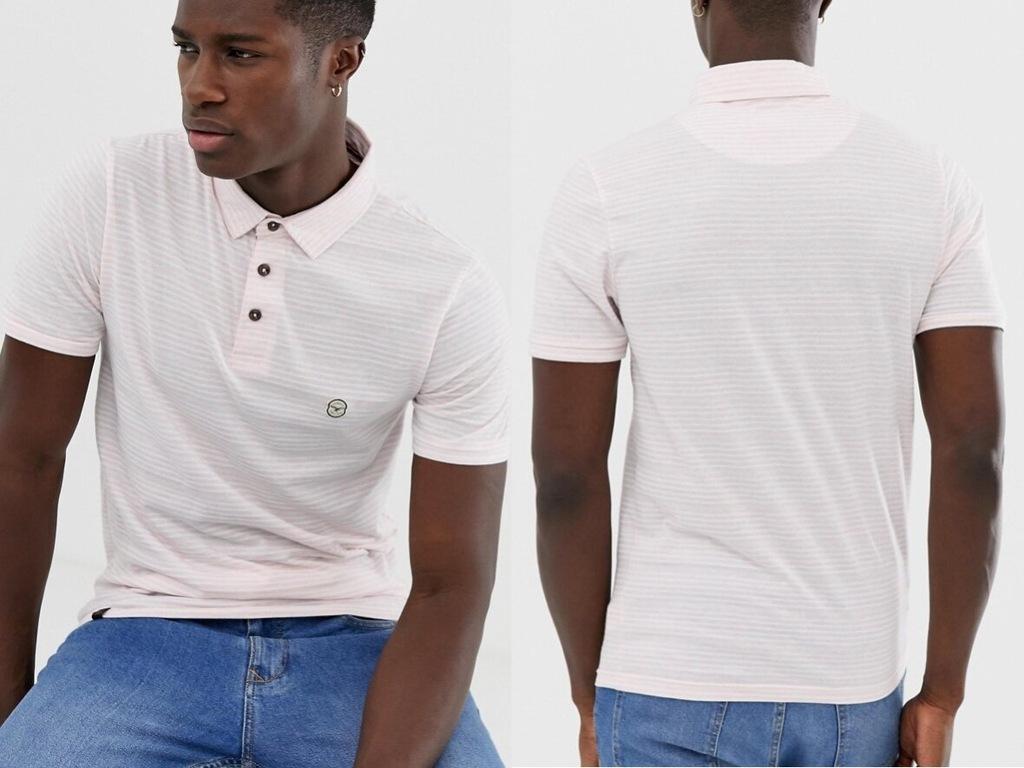 Koszulka polo w paski z guzikami XL