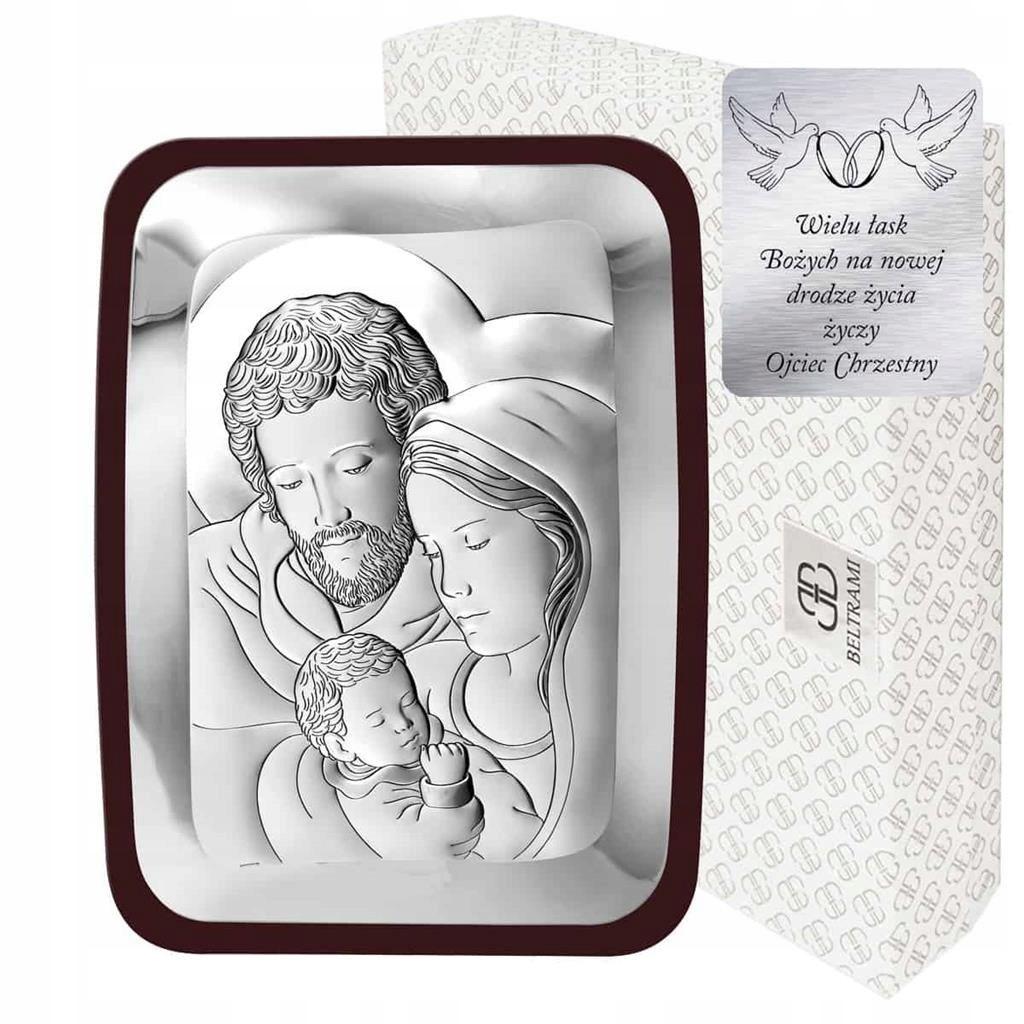 Obraz Srebrny Święta Rodzina Pamiątka Chrztu Ślubu