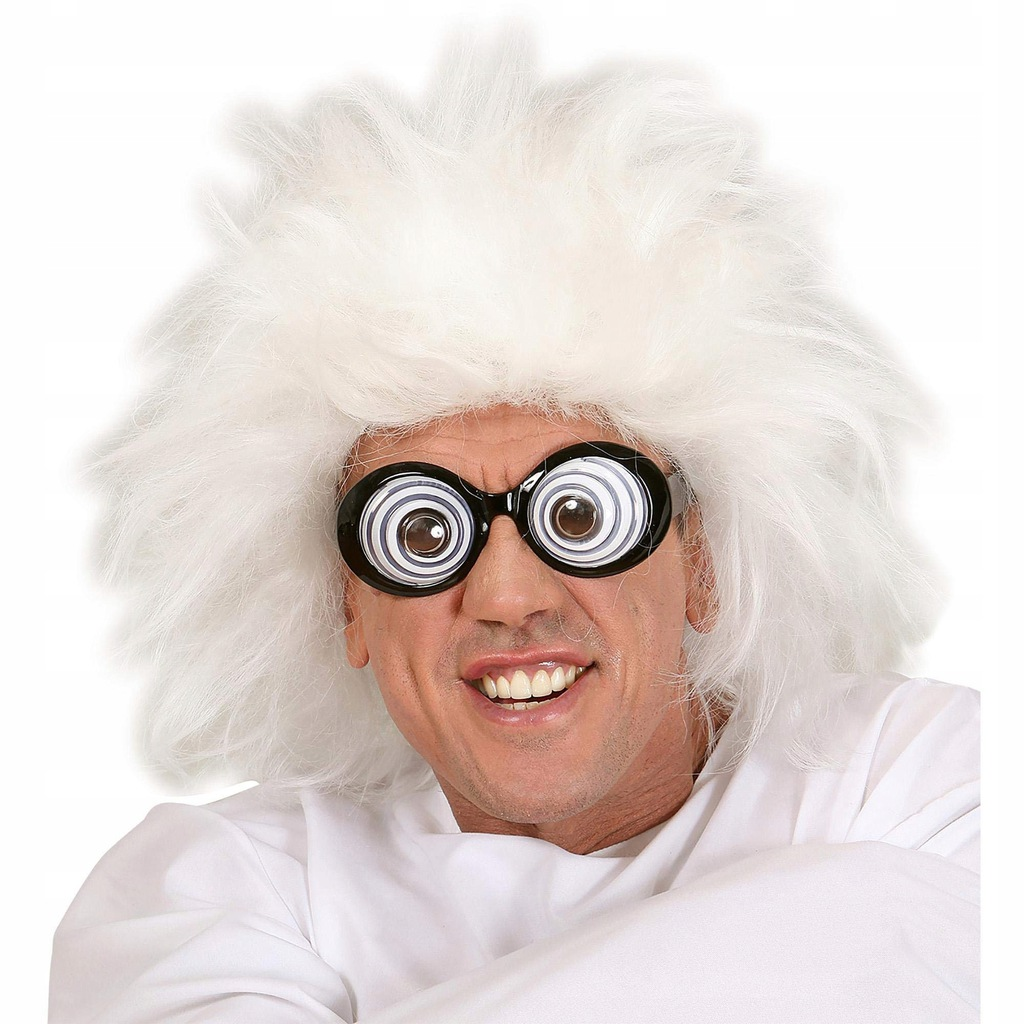 Frizzy White Scientist Lunatic Wig for Fancy Dres