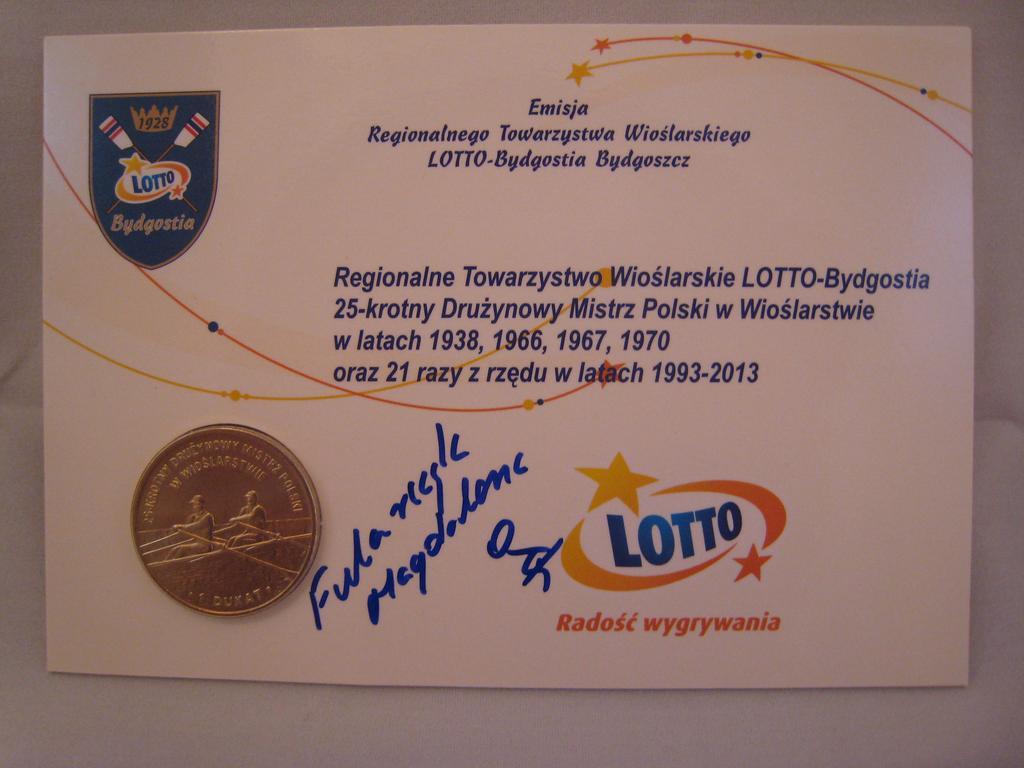 Dukat z autografem Magdaleny Fularczyk-Kozłowskiej