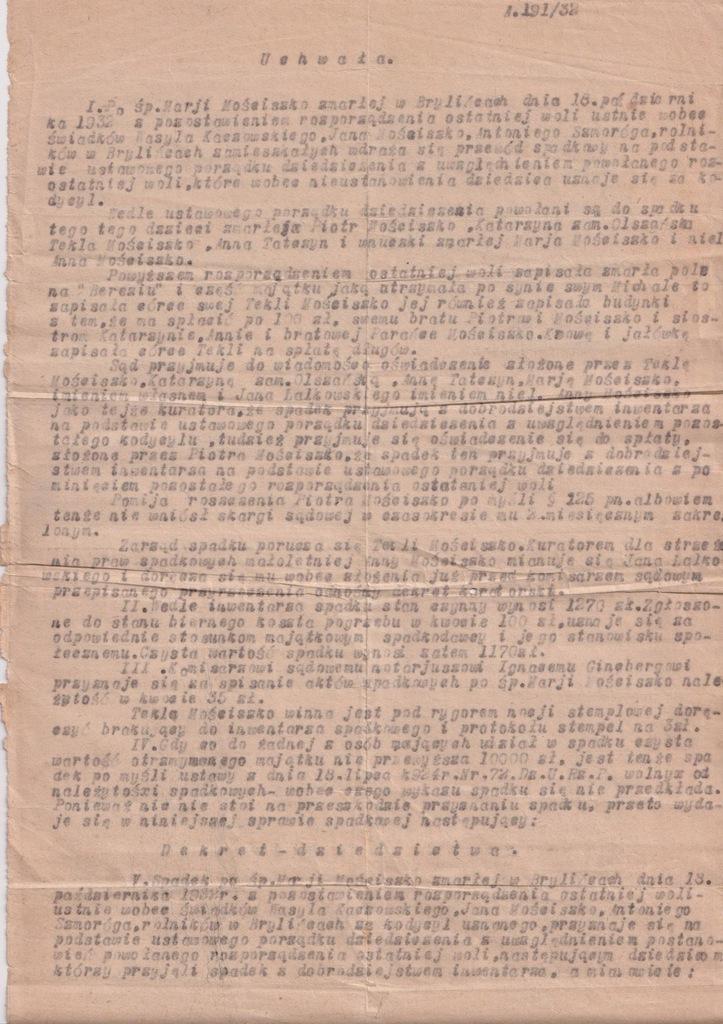 UCHWAŁA SĄDOWA SPADEK PO ZMARŁEJ NIŻANKOWICE 1933
