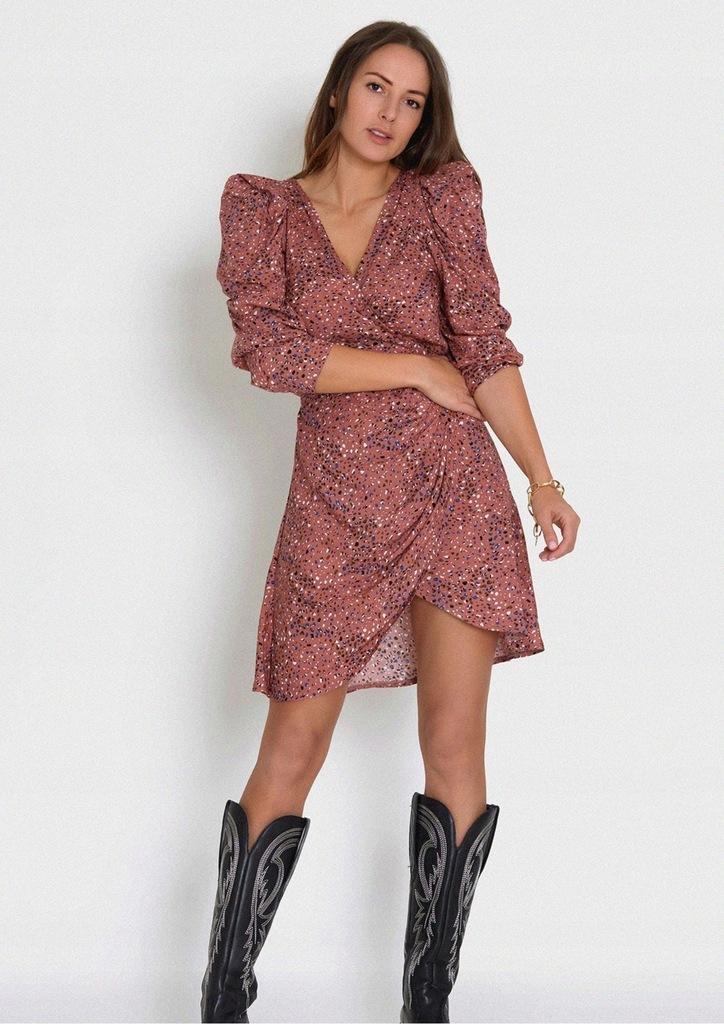Różowa asymetryczna sukienka z dekoltem CLARA XS-S