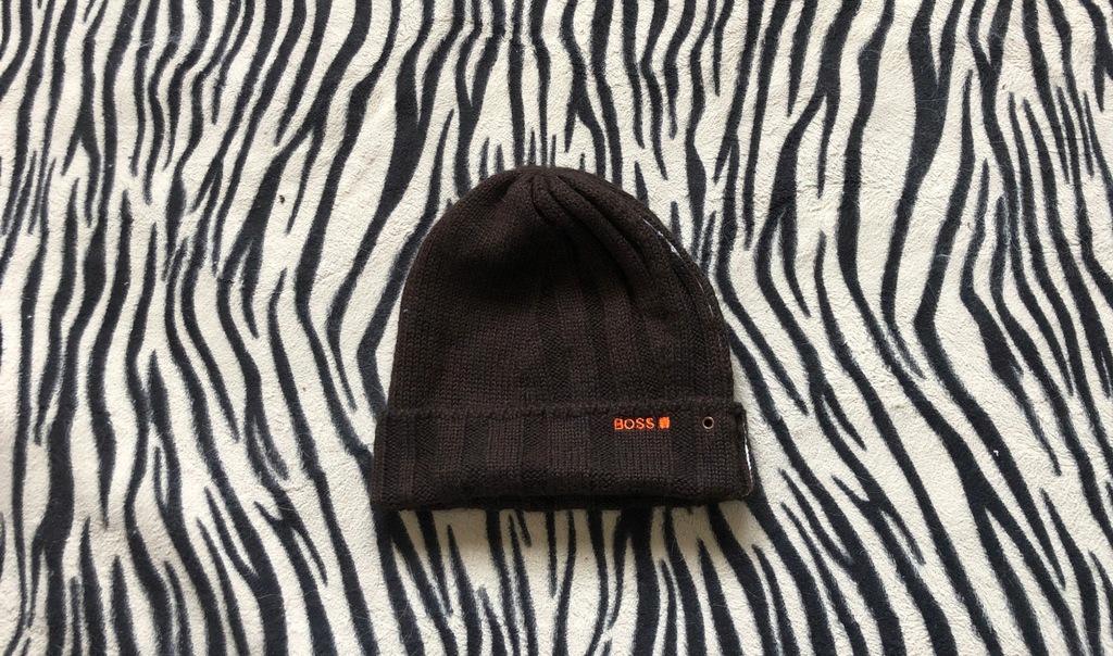 Hugo Boss orange czapka brazowa logowana