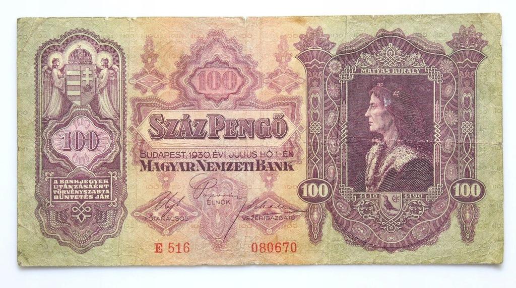 BANKNOT - Węgry - 100 Pengo 1930